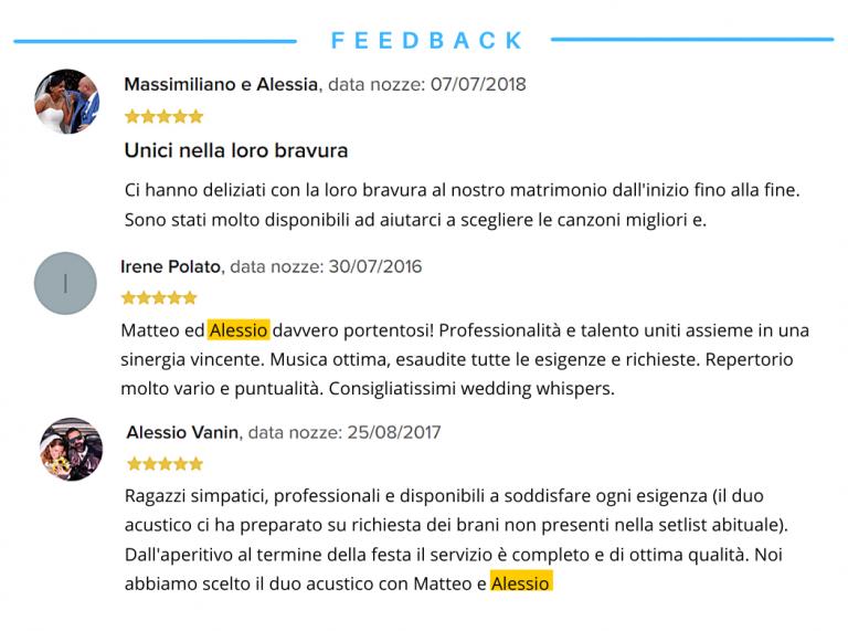 recensioni Alessio duo acustico wedding whispers